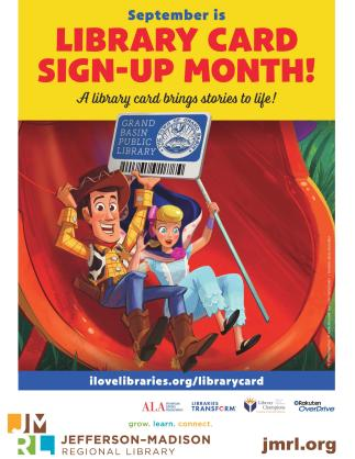 Library Card Sign Up Month 2019 poster